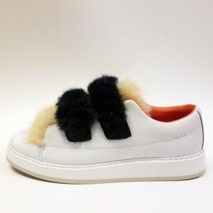 Zara Women's Faux Fur Velcro White Sneakers